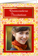 Quinceanera Invitation with hibiscus and red customizable photo card