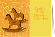 Double Baby Shower Invitation custom text with rocking horse card