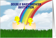Double Baby Shower Invitation custom text with baby chicks card