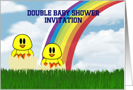 Double Baby Shower Invitation custom text with baby chicks hatching card