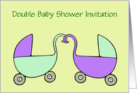 Double Baby Shower Invitation custom text with pram stroller card