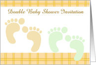 Double Baby Shower Invitation custom text with baby footprints card