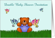 Double Baby Shower Invitation custom text with teddy and butterflies card