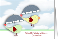 Double Baby Shower Invitation custom text with bird under umbrella card