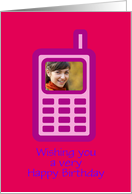 Happy Birthday with cell phone custom photo card
