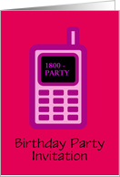 Birthday Party Invitation with pink cell phone custom text card