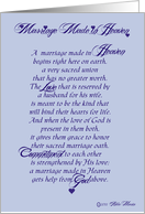 Marriage Made in Heaven Wedding Congratulations card
