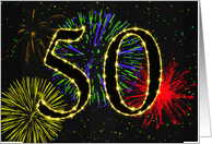 50th Birthday Party Invitation with fireworks card