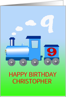 Add a name to a 9th birthday card with a train card