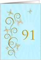 91st Birthday with golden butterflies card