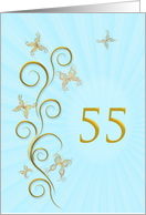 55th Birthday with golden butterflies card