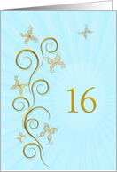 16th Birthday with golden butterflies card