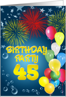 Balloons and fireworks 45th birthday party card