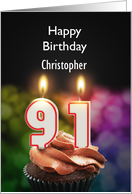 Add a name,91st birthday with candles card