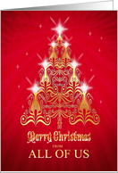 From all of us, Stylized Christmas tree Christmas card