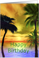 Tropical sunset with plam trees on the beach card