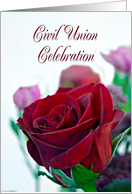 Civil union celebration. Classic single red rose card