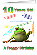 Froggy Jokes card for a 10 year old card