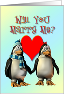 Marry me? Penguins in Love card