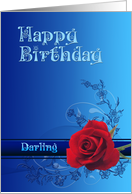 Red Rose Birthday card, Darling card