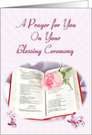 Bible and rose prayer card for Blessing Ceremony card