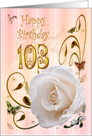 White rose with dewdrops 103 years Birthday card