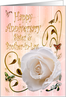 White rose Happy Anniversary Card for Sister and Brother-in-law card