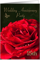 15th Anniversary Party Invitation. Red rose and golden butterflies. card