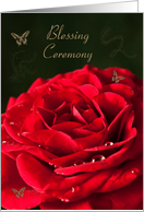 Blessing Ceremony Invitation. Red rose and golden butterflies. card