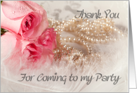 Thank you for coming to my party.Roses and pearls card