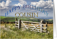 Birthday day card for Cousin showing a farmer's gate to the countryside card