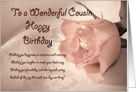 A birthday card for cousin. A pale pink rose on a delicate lace background card