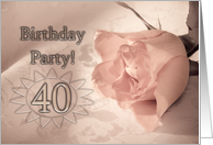 40 Birthday party invitation. A pale pink rose on a delicate lace background card