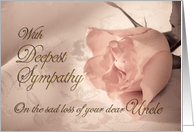 With deepest sympathy, loss of uncle. A pale pink rose on a delicate lace background card