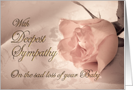 With deepest sympathy, loss of Baby. A pale pink rose on a delicate lace background card