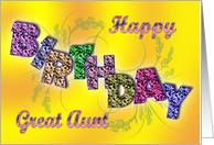 Birthday card for Great Aunt. With flowery bright happy letters. card