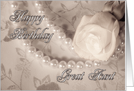 Rose and pearls birthday card,to Great Aunt card