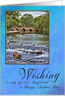 Happy Father's Day for Boyfriend, with a lovely river scene card