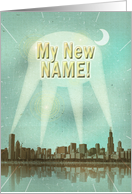 My new name retro city movie poster with spotlights card