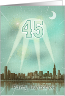 45th Birthday party invitation as a retro city movie poster with spotlights card