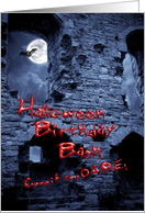 Halloween Birthday Bash showing a haunted castle card