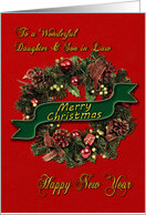 For daughter and son-in-law Christmas wreath card