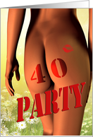 40th birthday party invite, a girl with a tattoo on her bottom card
