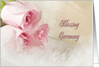 Blessing Ceremony card with roses and feathers card