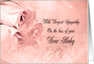 Sympathy on loss of a baby with roses and feathers card