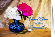 Roses in a vase say thank you for your sympathy card