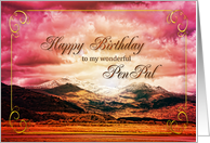 Pen pal birthday showing a sunset on the mountains card