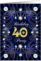 40th Birthday party invitation with a jewelled effect card