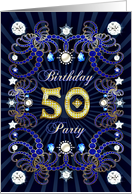 50th Birthday party invitation with a jewelled effect card