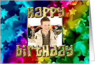 Rainbow stars Photo birthday card